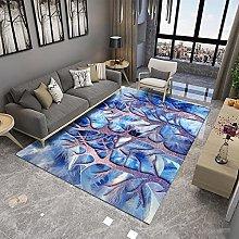 rug for bedroom Blue carpet, tree pattern