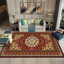 rug for bedroom Red Low-Pile Retro Carpet Living