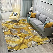 rug for bedroom Yellow carpet, feather pattern,