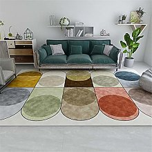 Rug For Bedrooms Abstract Circle Geometry Washable
