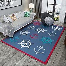 Rug For Bedrooms Modern Blue Red Border Ship