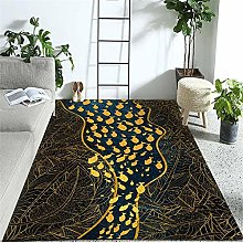 Rug For Living Room Jungle Leaves And Fish Thermal