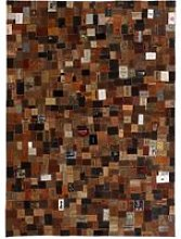 Rug Genuine Leather Jeans Label Patchwork 160x230