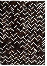 Rug Genuine Leather Patchwork 120x170 cm Chevron