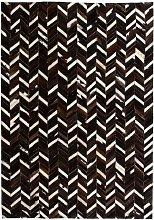 Rug Genuine Leather Patchwork 160x230 cm Chevron