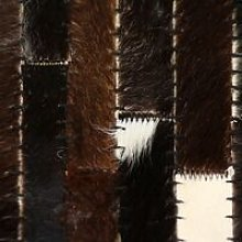 Rug Genuine Leather Patchwork 80x150 cm Stripe