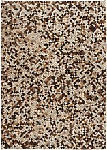 Rug Genuine Leather Patchwork Square Brown/White