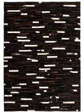 Rug Genuine Leather Patchwork Stripe Black/White