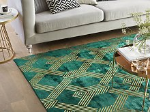 Rug Green with Gold Geometric Pattern Viscose with