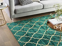 Rug Green with Gold Quatrefoil Pattern Viscose