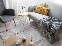 Rug Grey Polyester 140 x 200 cm Low Pile Modern