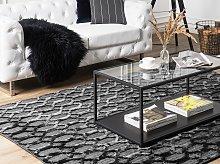 Rug Grey Viscose 140 x 200 cm Geometric Pattern