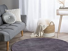 Rug Grey Viscose Round 140 cm Hand Tufted Low Pile