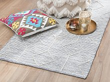 Rug Grey with Beige Wool and Cotton 80 x 150 cm