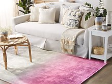 Rug Grey with Pink 200 x 200 cm Ombre Effect