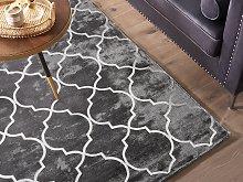 Rug Grey with Silver Quatrefoil Pattern Viscose