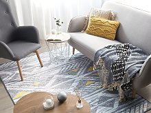 Rug Grey with Yellow Polyester 140 x 200 cm Low