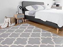 Rug Grey Wool 140 x 200 cm Trellis Quatrefoil