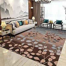 Rug Living Room Leaf Pattern Soundproof Rugs Brown