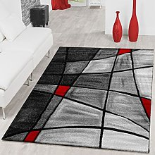Rug Living Room Rug Contour Cut In Grey Red Black