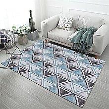 Rug Living Room Rug Underlay Blue gray triangle
