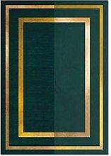 Rug Modern Geometric Gold Edge Dark Green Dark