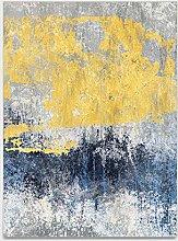 Rug Modern Simple Blue Yellow Gray Area Rug Non