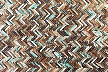 Rug Multicolour Leather 140 x 200 cm Cowhide Hand