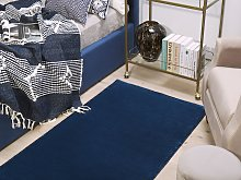 Rug Navy Blue Viscose 150 x 80 cm Hand Tufted Low
