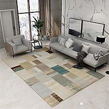 Rug non slip rug Green brown gray ink geometric
