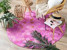Rug Pink Leather 140 cm Modern Patchwork Turquoise
