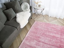 Rug Pink Viscose 200 x 200 cm Hand Tufted Low Pile