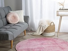 Rug Pink Viscose Round 140 cm Hand Tufted Low Pile