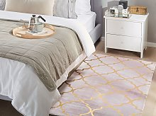Rug Pink with Gold Quatrefoil Pattern Viscose with
