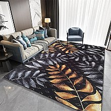 Rug rug for bedroom Black yellow gray leaves