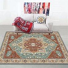 Rug rug for bedroom Brown blue retro geometric