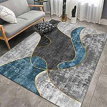 Rug rug for living room Black gray blue geometric