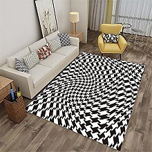 Rug rug for living room Black white abstract