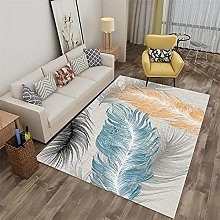 Rug rug for living room Blue gray yellow feather