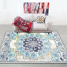 Rug rug for living room Blue yellow gray geometric