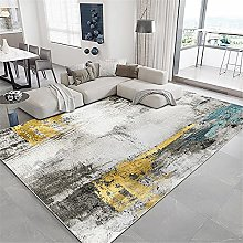 Rug rug for living room Yellow blue gray ink art