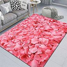 rug sale Pink carpet, flower petal pattern,