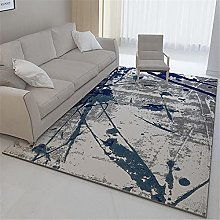 Rug sofa for bedroom carpet Blue gray abstract ink