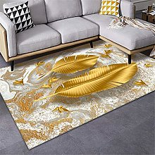 Rug washable rug soft Brown yellow leaves design