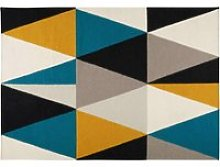 rug with multicoloured triangle motifs 200 x 140 cm