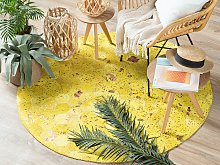 Rug Yellow Leather 140 cm Modern Patchwork