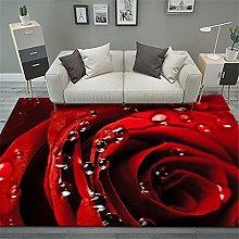 RUGMRZ Rug For Bedroom Red Flowers 3D Visual