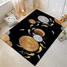RUGMRZ Rug For Living Room Black Oriental Carpet