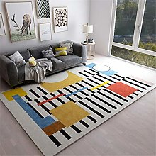 RUGMYW Bedroom Rug Soft Black White Yellow