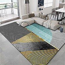 Rugs desk rug Blue yellow gray striped geometric